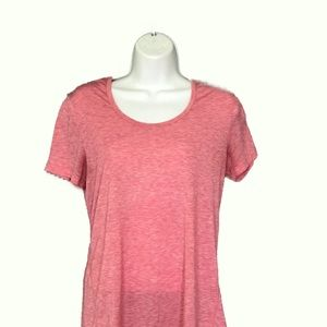 Lucy Tech Pink Heathered Athletic Active Shirt M